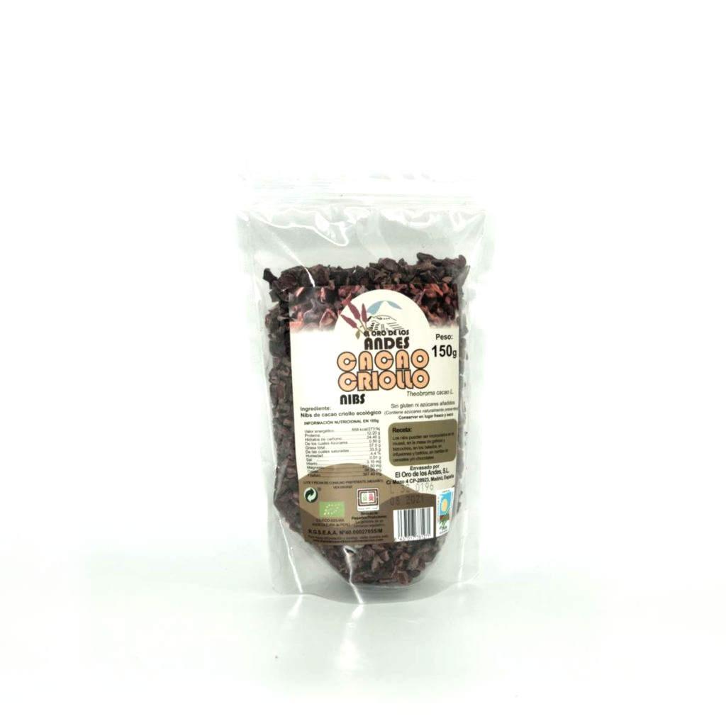 Cacao en Nibs (chips) bolsa de 150 gramos – El Oro de Los Andes ...