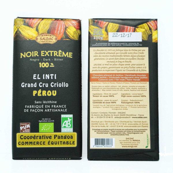 chocolate puro 100% cacao sin edulcorantes tableta de 100 gramos
