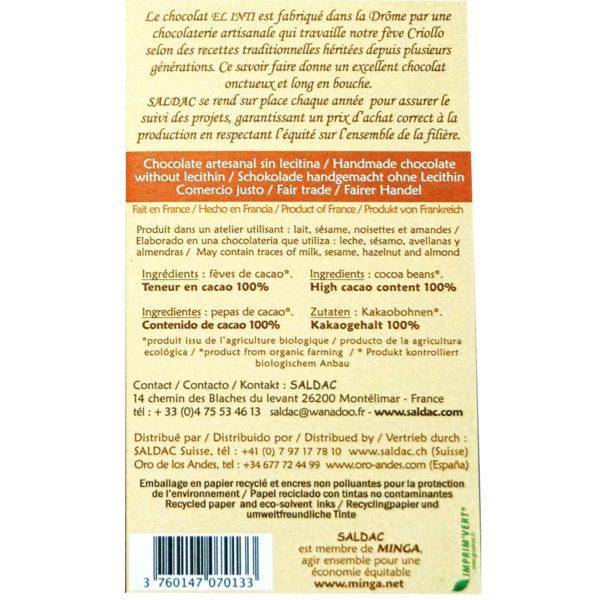 Chocolate 100% sin panela tableta de 100 gramos