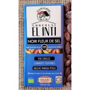 Chocolate a la sal ecológico con un 70% de cacao y un 1% de sal natural en tabletas de 100 gramos