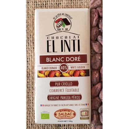 Chocolate ecológico blanco con un 40% de cacao