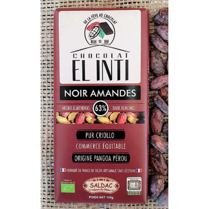 Chocolate ecológico con almendras y 63% de cacao
