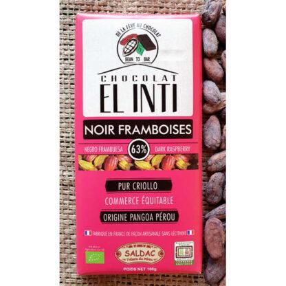 Chocolate ecológico con frambuesa 63% de cacao
