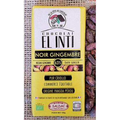 Chocolate ecológico con gengibre con un 63% de cacao