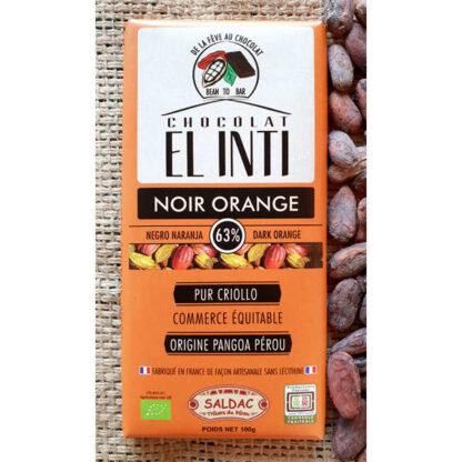 Chocolate ecológico con naranja y 63% de cacao
