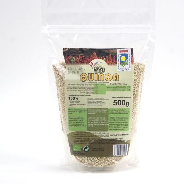 Bolsa de quinoa blanca ecológica de 500 gramos