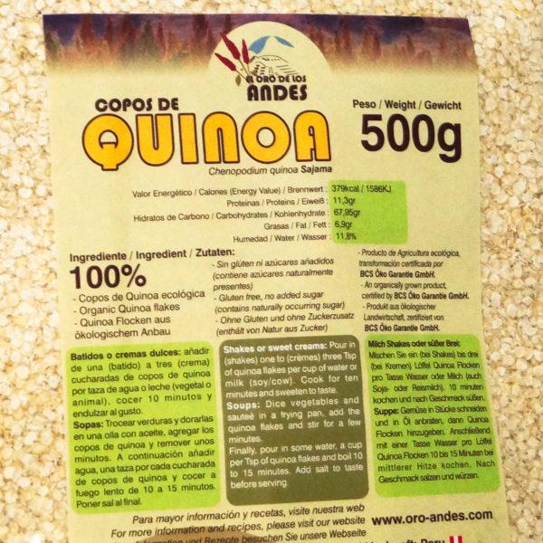 Quinoa Blanca en copos de 500 gramos.