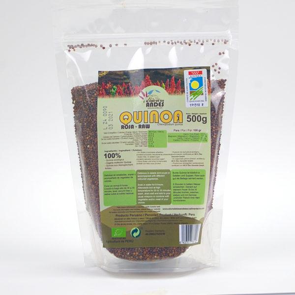 Bolsa de quinoa Roja ecológica de 500 gramos