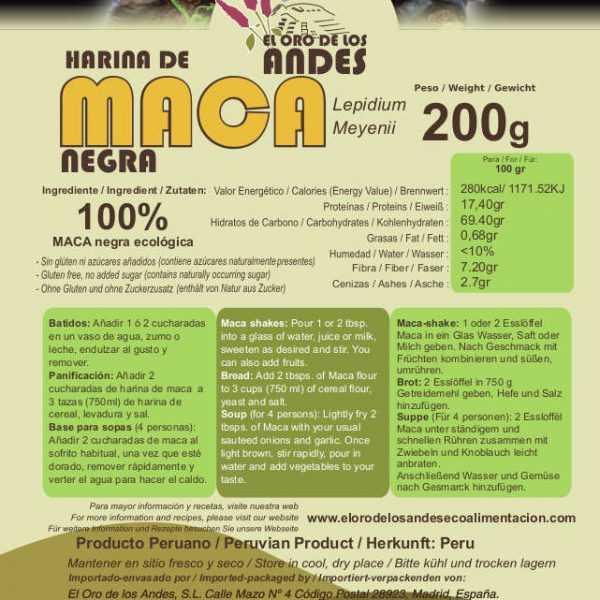 Maca negra ecológica, sin gluten producto peruano