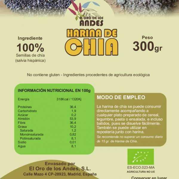 etiqueta de harina de chía, información nutricional y modo de empleo