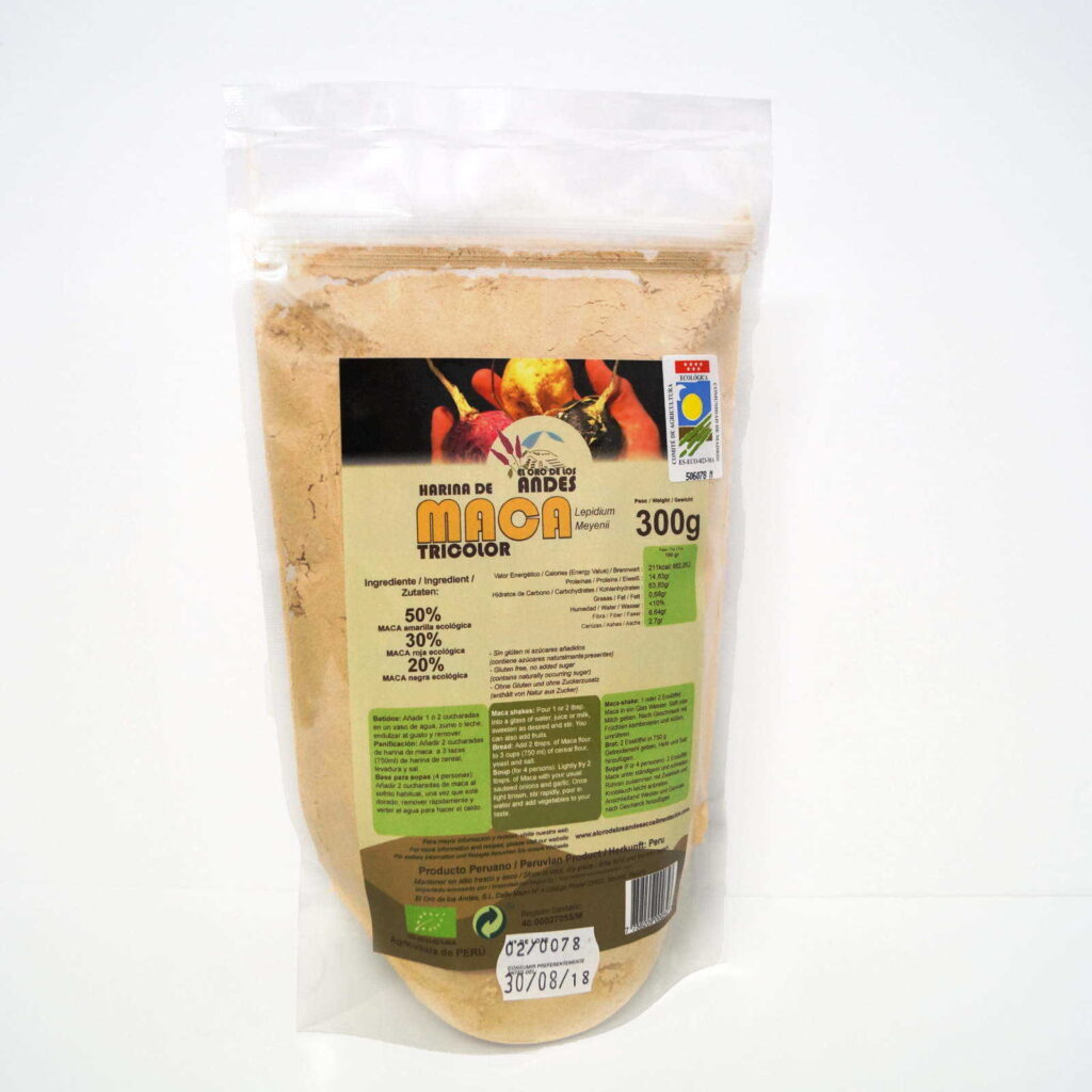 Harina de Maca tricolor de el oro de los andes 300 gramos
