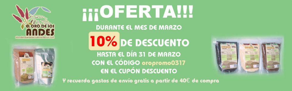 Oferta diez por ciento en tu compra durante el mes de marzo