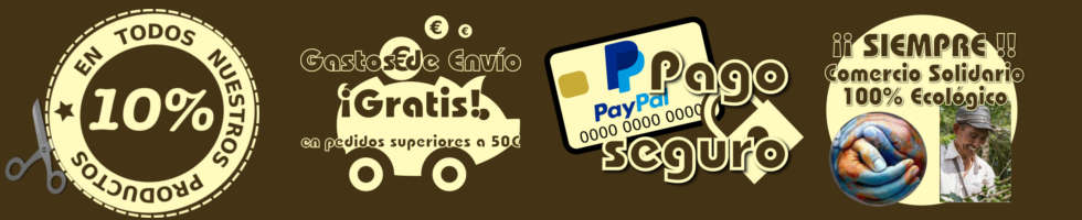 comercio solidario, gastos de envío gratis a partir de 50 euros, 10 por ciento en todos los productos