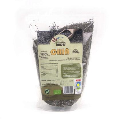 Bolsa de Chia ecológia en grano de 500 gramos