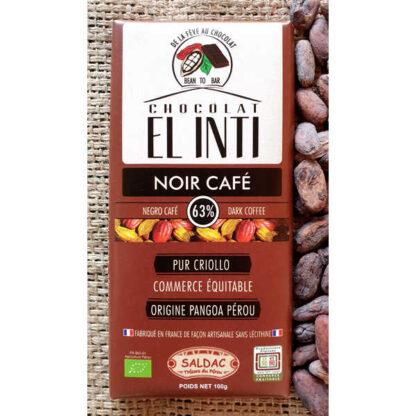 Chocolate ecológico con café 63% de cacao