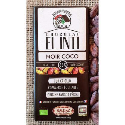 Chocolate ecológico con coco y 63% de cacao