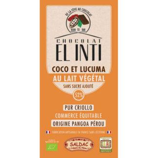 Chocolate ecológico con leche de arroz 52%, lúcuma 20% y Coco 15%