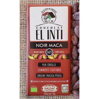 Chocolate ecológico con maca 63% de cacao 100 gramos