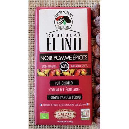 Chocolate con manzana con un 63% de cacao, manzanas secas y frutos secos en tabletas de 100 gramos