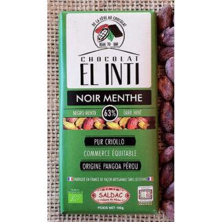 Chocolate ecológico con Menta y un 63% de cacao