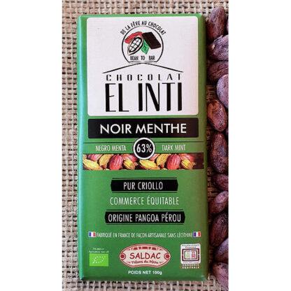 Chocolate con menta Tabletas de 100 gramos con 2% de menta y un 63% de Cacao criollo orgánico