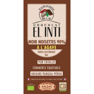 Chocolate negro 90% con Avellanas 15% y agave