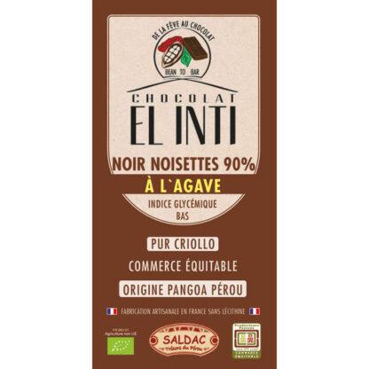 Chocolate Negro con avellanas 90% de cacao criollo con Avellanas y agave en tabletas de 100 gramos