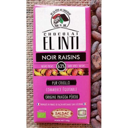 Chocolate con pasas con un 63% de cacao criollo orgánico y pasas de Corinto en tabletas de 100 gramos