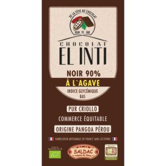 Chocolate Negro con agave 90% de cacao criollo en tabletas de 100 gramos