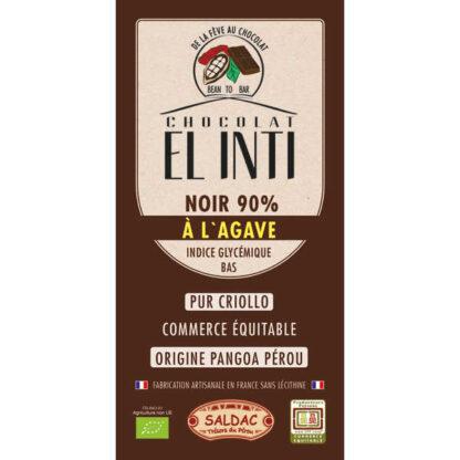 Chocolate negro 90% de cacao con agave