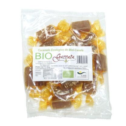 Bolsa de Caramelos artesanos de Miel y Canela 80 g 100% ecológicos para un caramelo rico y con todas la propiedades de sus componentes.