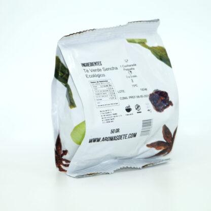 Paquete de te verde sencha ecológico de 50 g, ingredientes