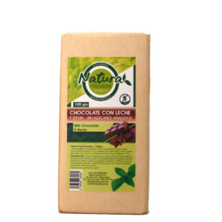 Tableta de chocolate con leche y stevia 100 gramos