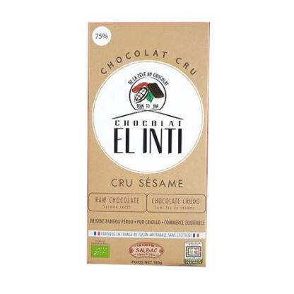 Chocolate crudo 75% de cacao orgánico con semillas de sésamo