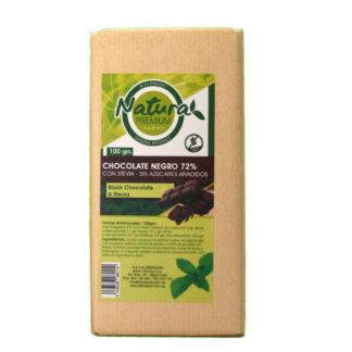 Tableta de 100 gramos de chocolate con un 72% de cacao y endulzado con stevia