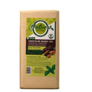 Tableta de chocolate negro con 72% de cacao, endulzado con stevia y con almendras150 gramos